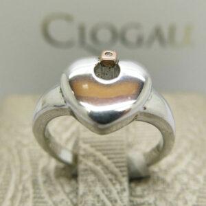 Clogau Silver & Rosegold Cariad Heart Ring