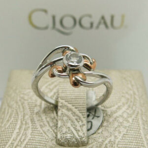 Clogau Silver & Rose Gold White Topaz Love Vine Ring