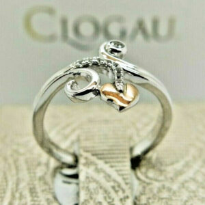 Clogau Silver & Rose Gold White Topaz Tree of Life Vine Ring