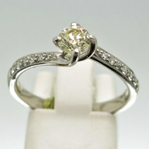 9ct White Gold Twist Diamond Engagement Ring
