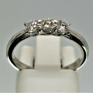 18ct White Gold Three Stone Crossover-Set Diamond Ring