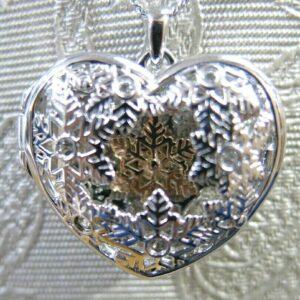 Clogau Silver and Rose Gold Snowflake Locket Pendant