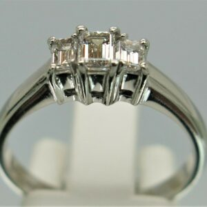 Platinum Emerald-Cut Three Stone Diamond Ring