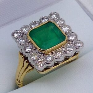 18ct Emerald and Diamond Square Cluster Ring